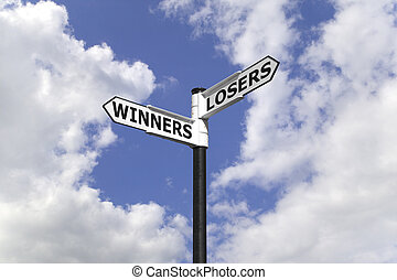 Winners and Losers on a signpost against a blue cloudy sky.