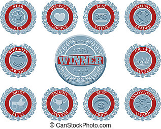 Winners award badges - A set of blue and red winners award...