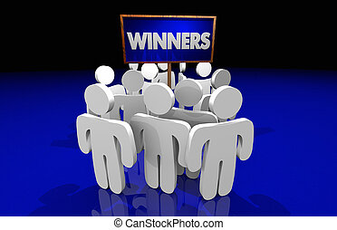 Winners Best Top Players Victory Win People Sign 3d Illustration