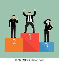 Winners businessman stand on a podium