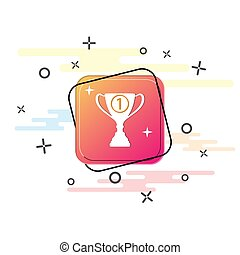 Winner's Cup badge. Purple square button. Flat design