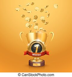 Winner's cup number one with a win. Vector illustration