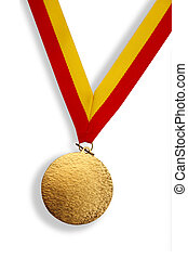 Winner\'s gold medal - Gold medal with red and yellow ribbon