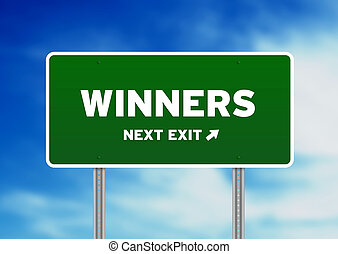 Winners Highway Sign - High resolution graphic of a winners...