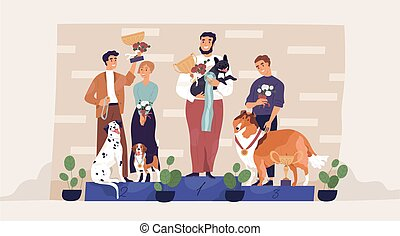 Winners of dog contest standing on pedestal with their owners, holding golden cups and medals. Champions with awards on podium. Leaders of pet competition. Colored flat graphic vector illustration