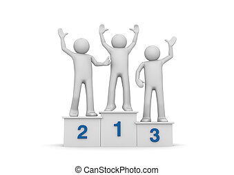 Winners on pedestal - 3d isolated on white background...