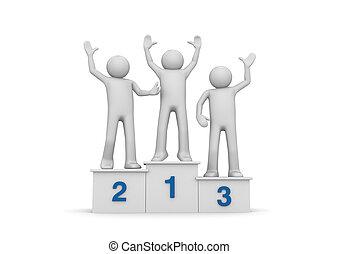 Winners on pedestal