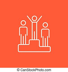 Winners on podium line icon.