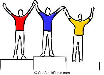 Winners Podium - Top three people standing on the podium