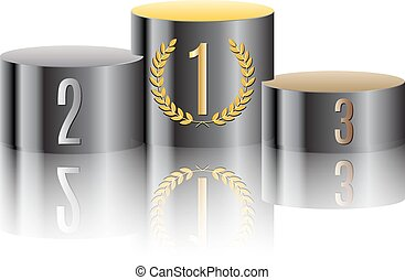 Black round winners podium vector background illustration