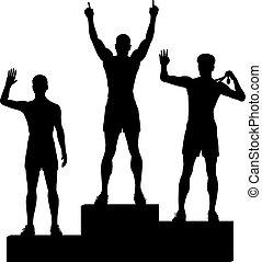 Winners podium - Editable vector silhouettes of three male...