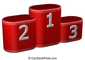 Winners podium with numerals. 3D rendering. - Winners podium...