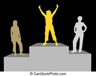 Winners - Silhouettes of medal winners - each silhouette is...
