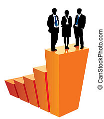 Winners - Successful business team is standing on a large ...