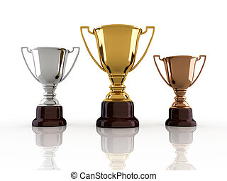 Winners trophy - Gold, silver and bronze winners cup sitting...
