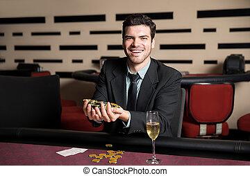 Winning a poker hand at casino