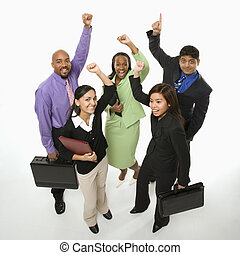 Winning business team. - Portrait of multi-ethnic business ...