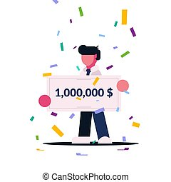 Winning check for a large amount. The man won the lottery. Lucky man. Award Winner. Flat character isolated on white background.