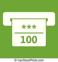Winning cheque in casino icon green