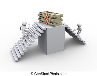 Winning dollar - 3d men climbing stairs for getting dollar...