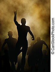 Winning - Editable vector illustration of a man celebrating...