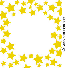 Gold stars making a border on a white background, winning gold star border