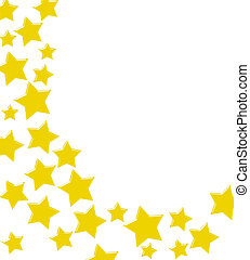 Gold stars making a border on a white background, winning gold star border