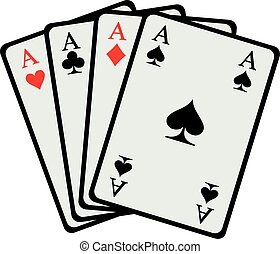 Winning hand Four aces playing cards
