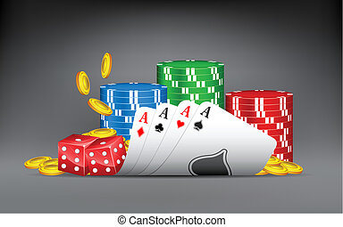 illustration of four aces with poker and gold coin