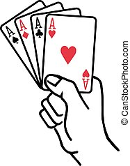 Winning hand with four aces playing cards