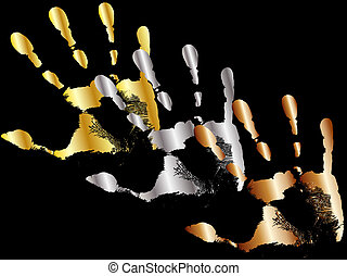 winning hands - gold, silver and bronze hands on a black...