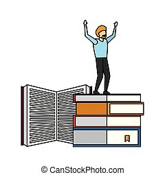 winning man standing on stack books