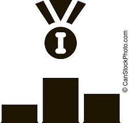 Winning Medal for 1st Place Icon Vector Glyph Illustration