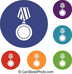 Winning medal icons set