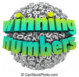 Winning Numbers ball of digits sphere illustrating a lottery jackpot or other prize or sweepstakes award