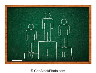 Winning pedestal on green chalkboard