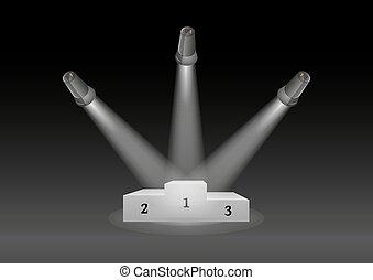 winning podium and lights