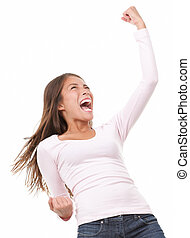 Winning success woman in full length cheering and screaming...