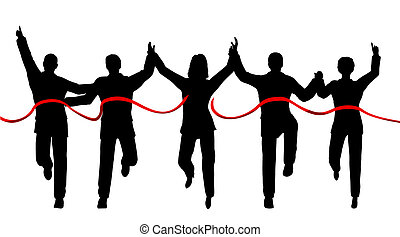 Winning team - Silhouettes of a business team crossing a ...