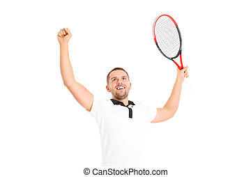 Winning tennis player