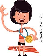 Winning the olimpic gold vector illustration cartoon...
