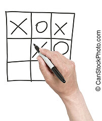 Winning tick-tack-toe game. - Hand drawing a cross in...