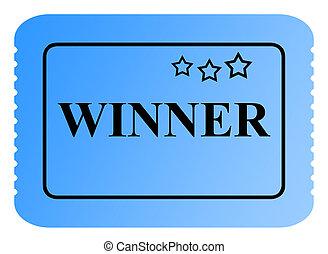 Winning ticket - Winning blue raffle or lottery ticket with...