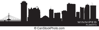 Winnipeg, Canada skyline. Detailed silhouette. Vector...