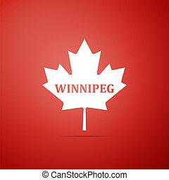 winnipeg, cidade, apartamento, folha, nome, canadense, isolado, ilustração, experiência., vetorial, maple, ícone, vermelho, design.