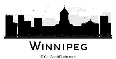 Winnipeg City skyline black and white silhouette.