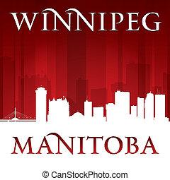 Winnipeg Manitoba Canada city skyline silhouette red background