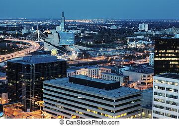 Winnipeg panorama at night. Winnipeg, Manitoba, Canada.