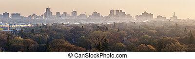 Winnipeg panorama at sunrise