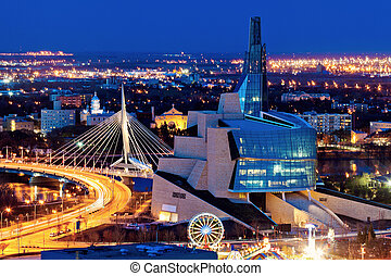 Winnipeg panorama at sunset. Winnipeg, Manitoba, Canada